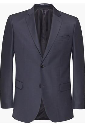 Hateko Altınyıldız Füme Eğik Çizgi Desenli Slim Fit Yün Erkek Ceket