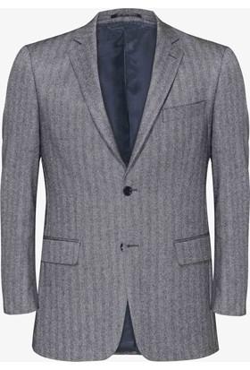 Hateko Altınyıldız Kışlık Balıksırtı Desenli Siyah & Beyaz Klasik Kesim Yün Erkek Ceket