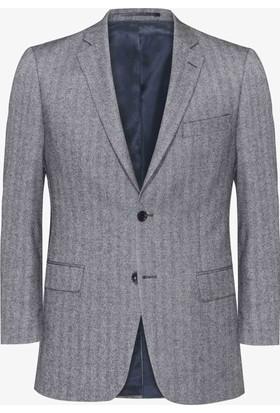 Hateko Altınyıldız Kışlık Balıksırtı Desenli Koyu Gri & Beyaz Klasik Kesim Yün Erkek Ceket
