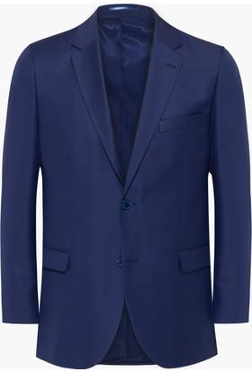 Hateko Altınyıldız Klasik Kesim 4 Drop Nokta Desenli Lacivert & Mavi Yün Erkek Ceket
