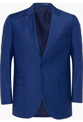 Hateko Altınyıldız Klasik Kesim 4 Drop Nokta Desenli Mavi & Mavi Yün Erkek Ceket