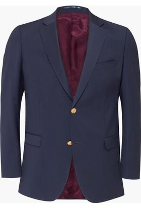Hateko Altınyıldız Mavi Slim Fit Blazer Yün Erkek Ceket