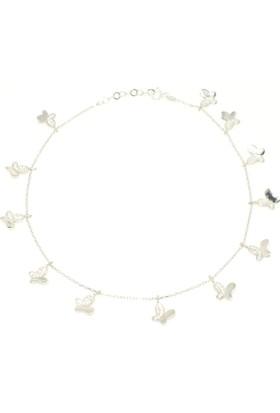 Nusret Takı 925 Ayar Gümüş 12 Kelebekli Halhal, Beyaz - Beyaz Taş