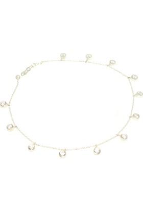 Nusret Takı 925 Ayar Gümüş Taşlı Halhal, Beyaz