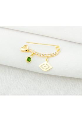 Bilezikci Gözlü Yeşil Taşlı 14 Ayar Altın Çengelli İğne