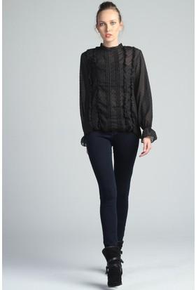 Yukimay Newyork Siyah Şifon Bluz