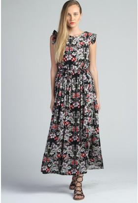 Yukimay Newyork Siyah Çiçek Desenli Elbise