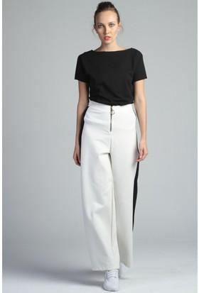 Yukimay Newyork Şeritli Beyaz Pantolon