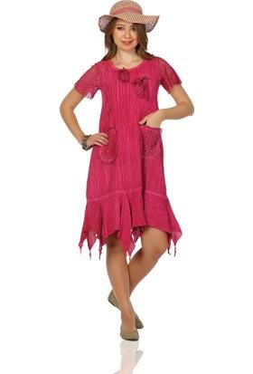 Eliş Cepli Şile Bezi Mercan Elbise