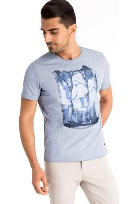 Kiğılı Bisiklet Yaka Baskılı T-Shirt