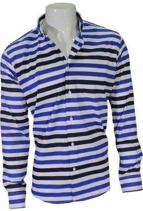 Megaldi Erkek Gömlek Pano Desen Mavi Siyah Slim Fit 30268