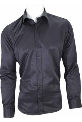 Megaldi Erkek Gömlek Armürlü Siyah Slim Fit 30274