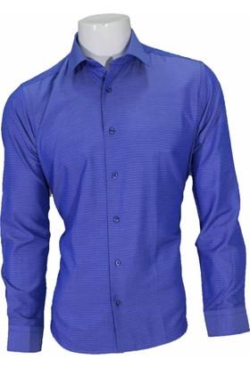 Megaldi Erkek Gömlek Mavi Puanlı Slim Fit 30276