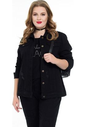 Rmg Kadın Büyük Beden Kot Ceket Siyah