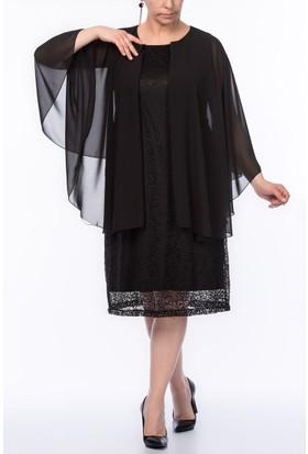 Rmg Büyük Beden Tül Detaylı Dantel Elbise Siyah