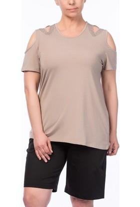 Rmg Büyük Beden Yaka Detaylı Taşlı T-Shirt Vizon