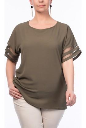 Rmg Kadın Büyük Beden Kolu Tül Detaylı Bluz Haki