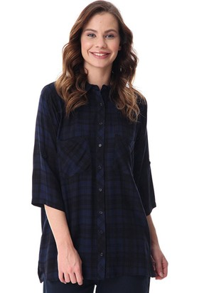 Rmg Kadın Büyük Beden Ekoseli Gömlek Lacivert
