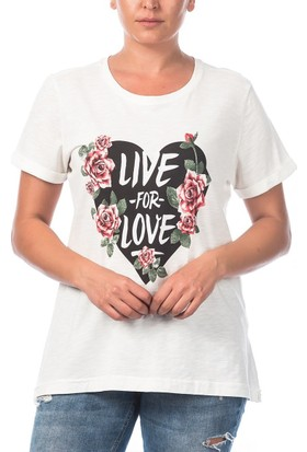 Rmg Kalp Desenli Büyük Beden T-Shirt Ekru