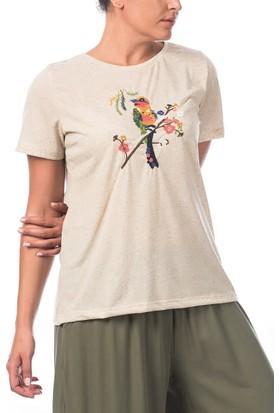 Rmg Kuş Deseni Nakışlı Büyük Beden T-Shirt Bej