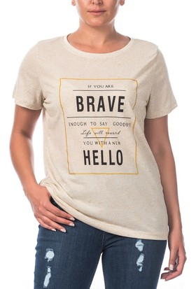 Rmg Brave Baskılı Büyük Beden T-Shirt Bej