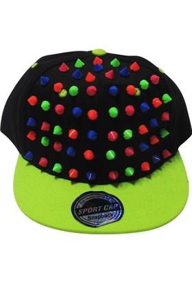 Laslusa Yeşil Siperli Renkli Düğmeli Hiphop Şapka