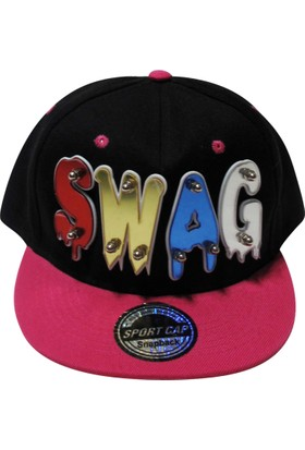 Laslusa Pembe Siperli Swag Yazılı Hiphop Şapka