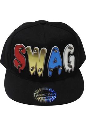 Laslusa Siyah Siperli Swag Yazılı Hiphop Şapka