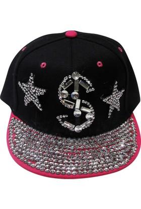 Laslusa Pembe Siperli Taşlı Yıldız Ve Dolar İşaretli Hiphop Şapka