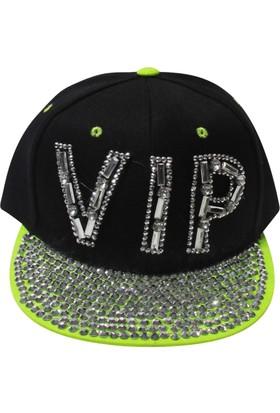 Laslusa Yeşil Siperli Taşlı Vıp Yazılı Hiphop Şapka