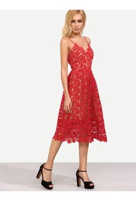 Yok Yok Kırmızı İnce Askılı Güpür Elbise