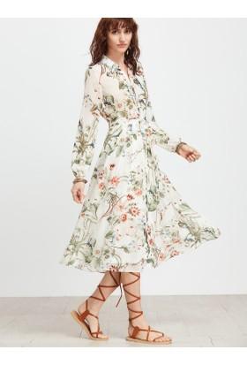Yok Yok Beyaz Çiçek Desenli Pamuklu Elbise