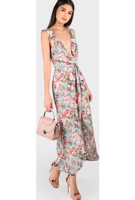 Yok Yok Çiçek Desenli Derin V Dekolteli Asimetrik Elbise