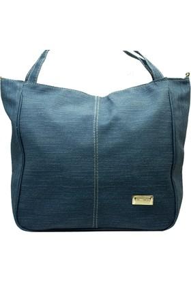 İntenin Mavi Kot Omuzdan Askılı Büyük Kullanışlı Çanta