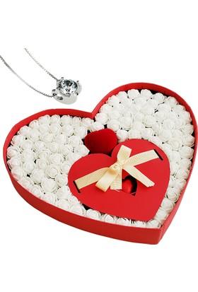Chavin Takı Setli Kalp Kutulu Çikolatalı Beyaz Mini Güller yap37