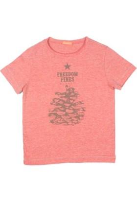 Karamela Erkek Çocuk T-shirt Pine Baskı Oranj