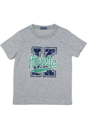 Karamela Erkek Çocuk T-shirt K Athletic Baskı Gri Melanj - Yeşil