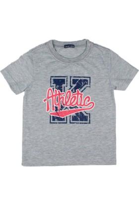 Karamela Erkek Çocuk T-shirt K Athletic Baskı Gri Melanj - Kırmızı