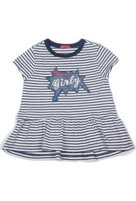 Karamela Kız Çocuk T-shirt Girly Lacivert Çizgili