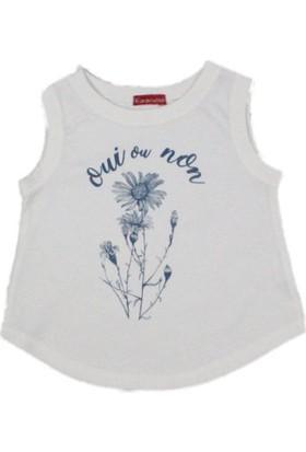 Karamela Kız Çocuk Kolsuz T-shirt Papatya Ekru