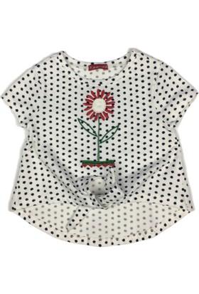 Karamela Kız Çocuk T-shirt Çiçek Ekru Puanlı
