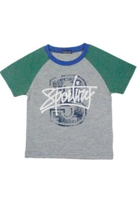 Karamela Çocuk T-shirt 3 Sporting Gri Melanj - Yeşil