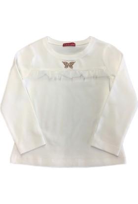 Karamela Kelebek Uzun Kollu T-shirt Ekru