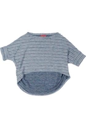 Karamela Kız Çocuk T-shirt Açık Gri - Lacivert Çizgili