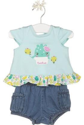 Tuc Tuc Kız Bebek T-shirt+Şort Takım Cactus Mint - Blue Jean