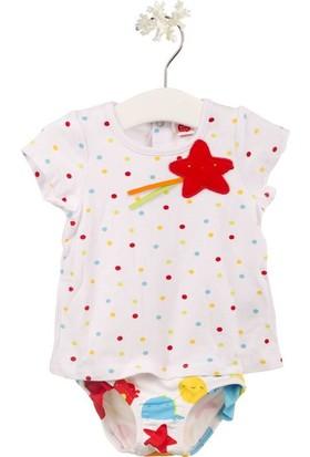 Tuc Tuc T-shirt+Külot Takım Mini Monster Beyaz Desenli