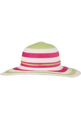 Tuc Tuc Çizgili Kız Çocuk Şapka Tropical Fuşya - Fıstık Yeşil Çizgili