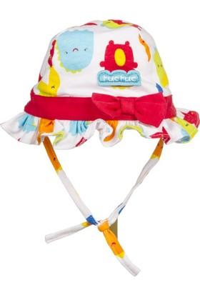 Tuc Tuc Kız Çocuk Şapka Mini Monster Beyaz Desenli