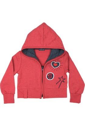 Karamela Kız Çocuk Kapişonlu Mont Kırmızı Melanj