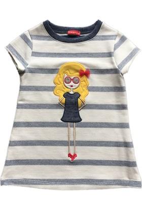 Karamela Kız Çocuk Elbise Güneş Ekru Çizgili